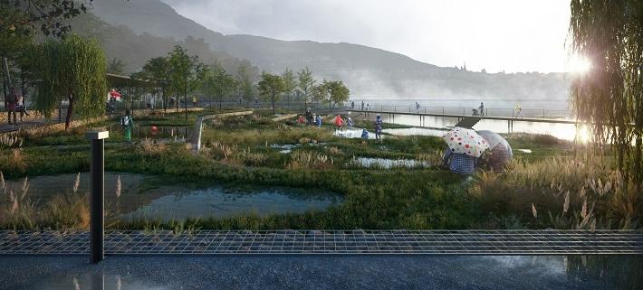 Stadspark omvandlas med hjälp av blågröna lösningar